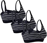 HOFISH Plus Size Women's Full Bust Wirefree Sleeping Nursing Seamless Maternity Bra, 3 Black Striped, Medium