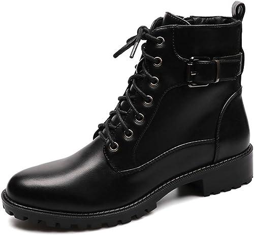 ZHRUI Botines para mujer Estilo de Moda Punta rojoonda Zip Martin botas PU zapatos de mujer de Cuero con Felpa cálida (Color   negro, tamaño   3=35 EU)