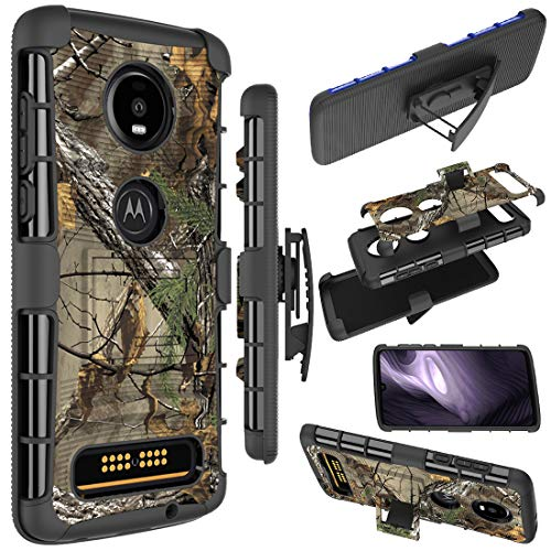 Moto Z4 Case, Moto Z4 Play Holster Case, Zoeirc [Heavy Duty] Armor Shock Proof Dual Layer Phone Protective Case Cover with Kickstand & Belt Clip Holster for Motorola Moto Z4 (camo)