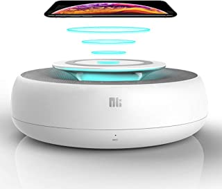 Bluetooth Speaker with Wireless Charger (10W), 2 in 1 Portable Home Audio Stereo Speakers, Built-in Dual Driver Speakerphone, Hands-Free Mic, Touch Control, Wireless/USB Charge, Speaker for Parties