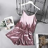 Handaxian Verano Nuevo Pijama de Mujer de cinturón de Espagueti de Seda de Hielo Color sólido Pijamas de Moda Delgada 4 XXL