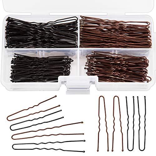 AIEX 200 Stück U Bobby Pins Haarnadeln für Mädchen und Frauen mit Aufbewahrungsbox (Braun, Schwarz)