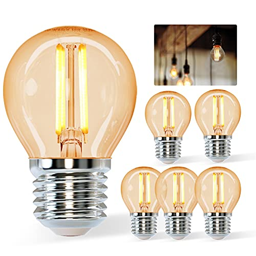 Aigostar Vintage Bombilla LED E27,4W Equivalente a 37W, Luz Cálida 2200K,420lm, G45 Bombilla Filamento Led,No Regulable,5 Pieza