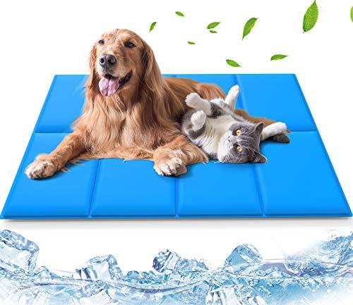 Haustier Kühlmatte für Hunde und Katzen, Lidasen Besser Verschleißfest Wasserdicht Hundematte mit Natürliches Selbstkühlendes Gel, 120cm × 75cm Grosse Komfortabel kühlende Haustier Matte