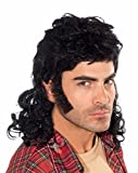 Forum Novelties Men's 90's Mullet Wig, Black, One Size