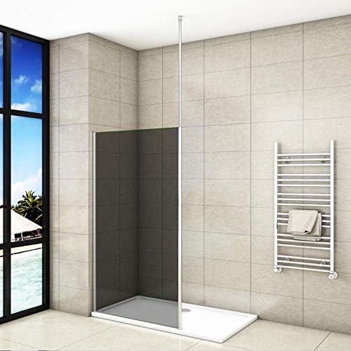 Mampara de ducha Panel Fijo con Barra vertical a Techo, Cristal Templado Gris Antical 8mm, 140x200cm