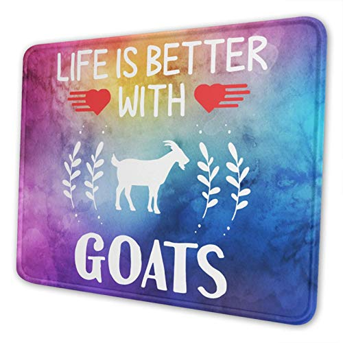 DICHQTET Life is Better with Goats Mouse Pad Non-Slip Rubber Base for Computer MacBook