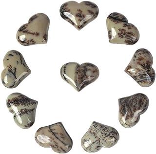 Natural Chinese Painting Jasper Gemstone Healing Crystal 1 inch Mini Puffy Heart Pocket Stone Iron Gift Box (Pack of 10)