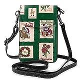 mengmeng Vintage Urlaub Briefmarken Grün Weihnachten Crossbody Tasche Kleine Handy Geldbörse Casual Schultertasche für Frauen