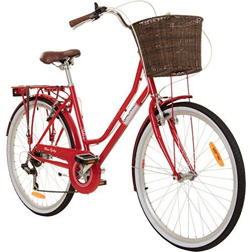 Galano 26 Zoll Cityrad Belgravia 6 Gang Damenfahrrad Mädchenrad Citybike mit Korb, Farbe:rot, Rahmengrösse:18 Zoll