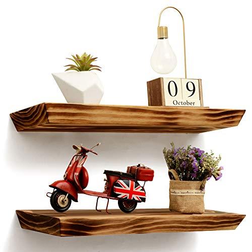 ArtBroz Rustic Floating Shelves for Wall - Set of 2 Heavy Duty Wood Shelves, 24x6.7x1.7 Inch, Deep Long Chunky Floating Wall Shelf, Grade-A Pine Wood +Smart Hidden Mounts +Premium Anchors [225°]