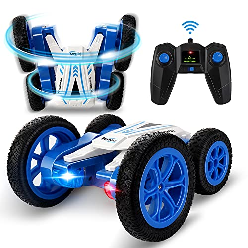 HENEROAR LED Remote Control Car, Double Sided Fast and 360 Flips RC Cars, RC Stunt Car with Strong 4WD Off-Road, All Terrain Tires Stunt Car with Rechargeable Batteries, Toys Car Gift for Boys Girls