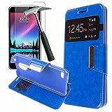 Todobarato24h Funda Libro Ventana LG K4 2017 Azul + Protector DE Cristal Templado