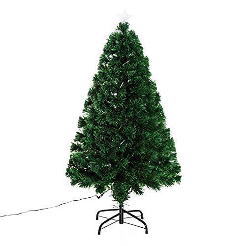 homcom Albero di Natale Artificiale Foltissimo con Supporto Fibra Ottica Altezza 120cm