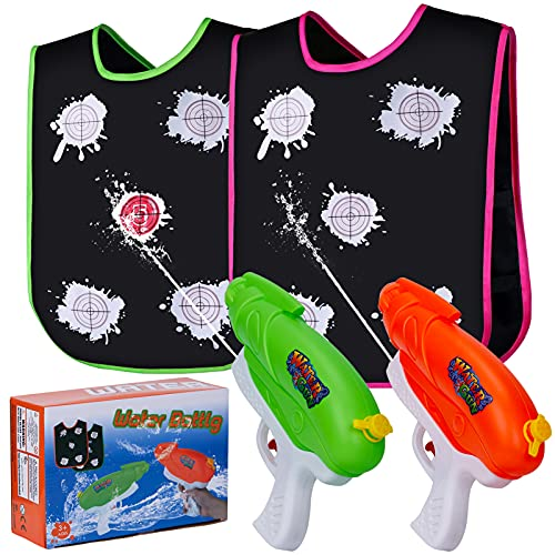 Shooting Game Toys for Kids and Adults, 2 Pack Water Guns with Color Changing Vest, Boys Girls Super Squirt Guns Water Soaker for Summer Swimming Pool Beach Outdoor Water Fights Party