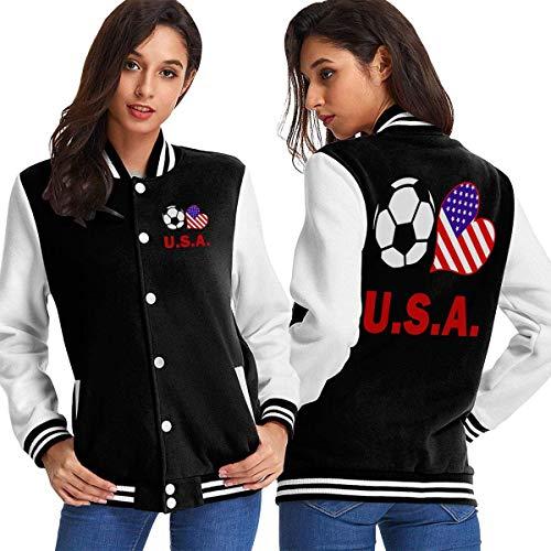 BYYKK Mujer Chaquetas Ropa Deportiva Abrigos, Soccer Heart Football U.S.A Flag Women's Long Sleeve Baseball Jacket Baseball Boyfriend Jacket