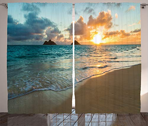 """Ambesonne Hawaiian Curtains, Scenic and Panoramic Sunrise Over The Ocean Rocks Sand and Clouds Sunshine Tide Sunbeam Shore, Living Room Bedroom Window Drapes 2 Panel Set, 108"""" X 84"""", Yellow Turquoise"""