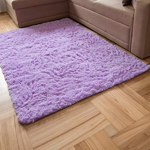 Carpeto Rugs Teppich Mädchen Hochflor Wohnzimmerteppich Langflor - Teppiche für Wohnzimmer Schlafzimmer Kinderzimmer - Weicher Modern Einfarbig Flauschig Shaggy - rutschfest Violett Lila 80 x 150 cm