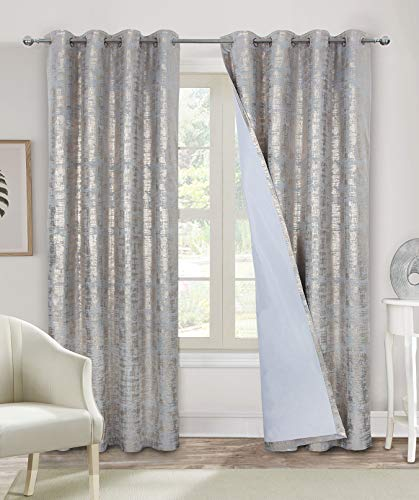 Alexandra Cole 100% Blackout Window Curtains for Bedroom Living Room Velvet Room Darkening Curtains 84 Inches Long Luxury Gold Foil Print Drapes 2 Panels Silver