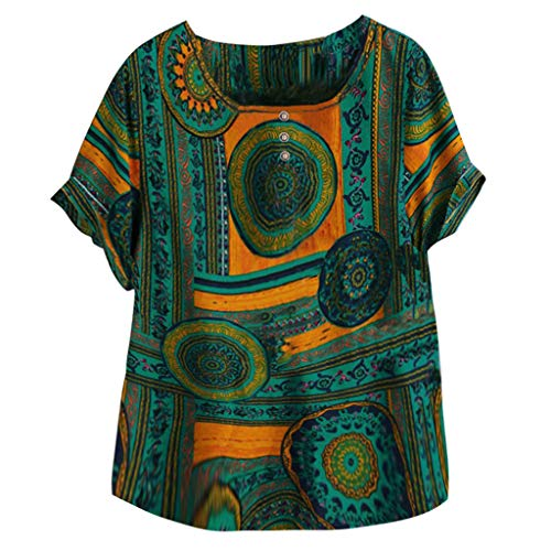VEMOW Camiseta Mujer Casual Talla Extra Manga Corta Elegante Algodón Lino Cuello Redondo Impresión Blusa Parte Superior Tops Shirts tee Verano OtoñO(D Verde,4XL)