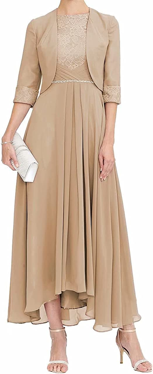 Mother of The Bride Dresses for Women, Elegant Two Piece Tea Length Formal Evening Dress with Jacket A-line Hi Low