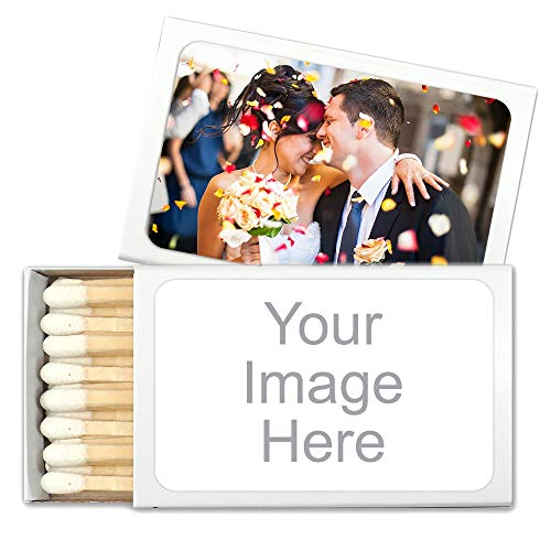 Personalized Custom Matches for Wedding Favors, Birthday Favors, Cigar Bar Matches (Set of 50 Matchboxes) (White Box)