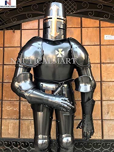 NAUTICALMART Medieval Black Knight Crusader - Traje Completo de Disfraz de armazón Werabale Halloween