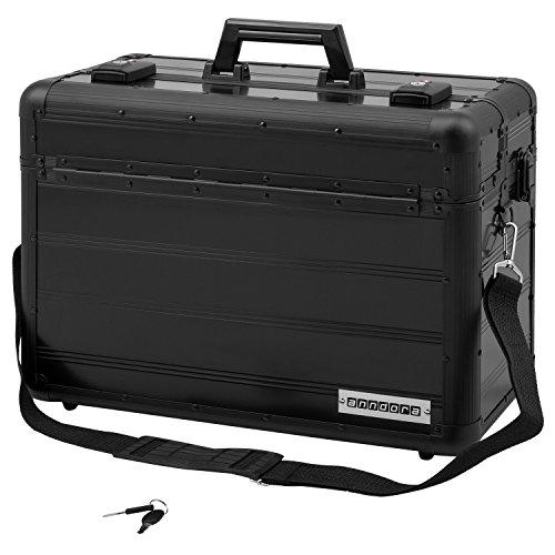 anndora Pilotenkoffer Businesskoffer TSA Schlösser Aluminium Oberfläche Schwarz