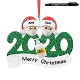 AWEIER Familia Sobrevivido Adornos de árbol de Navidad 2020 Adornos de Adorno de Navidad, Accesorios de casa, Adornos navideños Decoraciones (a/2 Personas(Tener Pluma))
