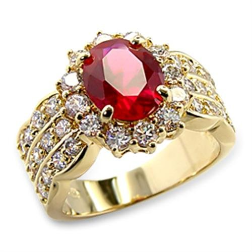 4.60ct LADIES BLOOD RED RUBY (10.8mm) RING. GENUINE SIMULATED DIAMONDS BRILLIANT ROUNDS CRYSTALS. GOLD ELECTROPLATED. CHOICE OF FREE ENGRAVING.