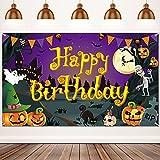 Happy Birthday Halloween Backdrop Halloween Birthday Party Background Pumpkin Ghost Spooky Castle Photography Background Halloween Party Photo Booth Banner Large Birthday Backdrops Decor, 6 x 3.6 ft
