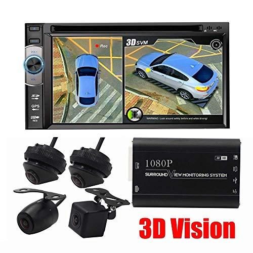 1080P HD 3D Caméra Panoramique 360 Degré De Vue Surround Transparente Système De Stationnement Enregistreur Vidéo Numérique, Auto Caméra Inversée Toute La Vision Nocturne Ronde