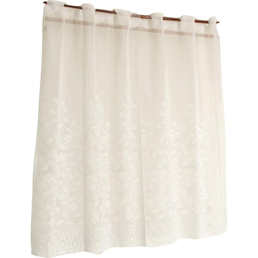 ケーブル再開したがってアーリエ(Arie) カフェカーテン ホワイト 幅100×丈90cm 日本製 小花のつる柄がかわいらしい フラワー