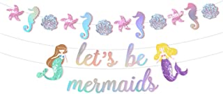 NICROLANDEE Glitter Mermaid Banner for Party Supplies - Pre-Assembled Under The Sea Theme Let's Be Mermaid Garland with Sparkling Laser for Girl Birthday Baby Shower Party Decorations