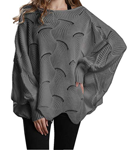 ZIYYOOHY Damen Pullover Oversize V Ausschnitt Lose Pulli Strickpullover Outwear (L, Dunkelgrau)