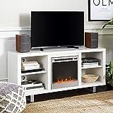Walker Edison Furniture 58' Simple Modern Fireplace TV Console, White