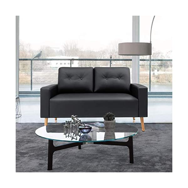 Mid Century Modern PU Leather Upholstered Living Room Loveseat 1