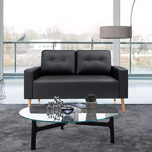 VICTONE Leather Faux Loveseat Modern Couch for Living Room PU Mid Century Sofa with Solid Wood Frame (Black)