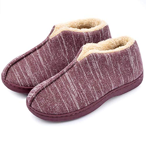 Women s Comfortable Slippers Fuzzy Memory Foam Non-Slip Wide Width Home Slippers with Indoor Outdoor, 42 43 Rose