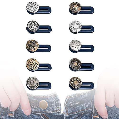 Rpanle Extensor Boton Pantalones, Extensor de Botón de Cintura, Prolongador de Botón Elástico, para Pantalones Vaqueros, Pantalones y Falda (10 Piezas)