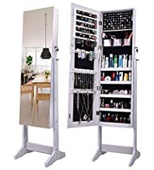 ★Full Length Mirror★:Once they come across the frameless mirror jewelry organizer, lots of people can not accept the jewelry armoire with frame anymore .Specially this explosion-proof and high-definition dressing mirror,clearer and safer,to lighten y...