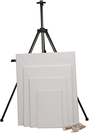 Kurtzy Adjustable Telescopic Aluminium Artist Display Easel with Black Carry Case and 4 Size Plain Canvas Board