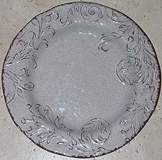 Nicole Miller Rustic Grey Floral 100% Melamine Round Dinner Plates - 4 of each.