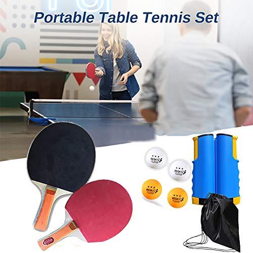 Tischtennisschlaeger Set, Bälle Ping Pong Set, 2 Tischtennisschläger + 4 Tischtennis-Bälle, Ideal für Anfänger, Familien und Profis