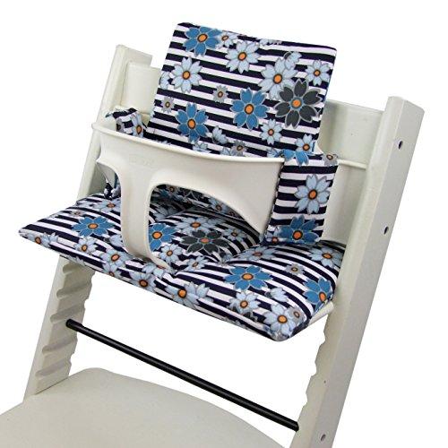 Babys-Dreams Sitzkissen Auflage Sitzkissenset für Stokke Tripp Trapp Hochstuhl *15 FARBEN* Ersatzkissen Kissen 2 teilig (Streifen Blaue kl. Blumen) XX