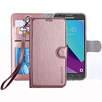 Galaxy J3 Emerge Case / J3 Prime / J3 Eclipse/Sol 2 / Amp Prime 2 Case ERAGLOW PU Leather Wallet Flip Protective Cover with Card Slots & Kickstand for Samsung Galaxy J3 2017  Rose Gold