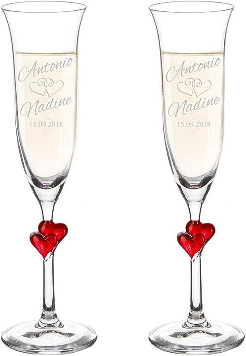 Set 2 calici con cuori rossi e incisione personalizzata con nomi e data, bicchieri sposi, flute champagne B00L5HT0NU