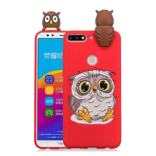 LAXIN Cute owl Case for Huawei Y7 (2018),Soft 3D Silicone Case,Cute Fruit Rubber Cover,Cool Kawaii Cartoon Gel Cover for Kids Girls Boys Men Woman Fun Soft Silicone Shell