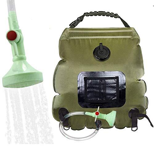 Elikliv - Bolsa de ducha con energía solar para camping, con calefacción solar, para exteriores, bolsa de baño intercambiable, para ducha, senderismo, almacenamiento de agua con termómetro