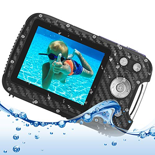 Cámara Digital Impermeable para Adolescentes, Videocámara Full HD 1080P de apuntar y Disparar, Zoom Digital de 8X / cámara subacuática de 16 MP